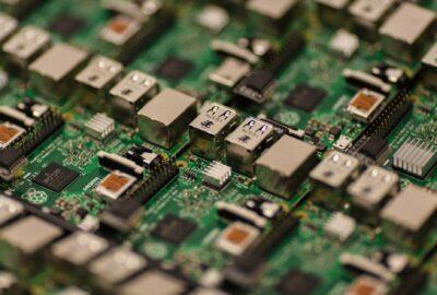 green and grey circuit board